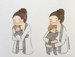 დედობის ემოციური მომენტები - სასიამოვნო ილუსტრაციები