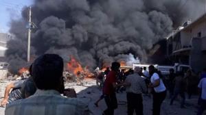 თურქეთის საზღვართან მდებარე სირიის ქ. აზაზში აფეთქება მოხდა