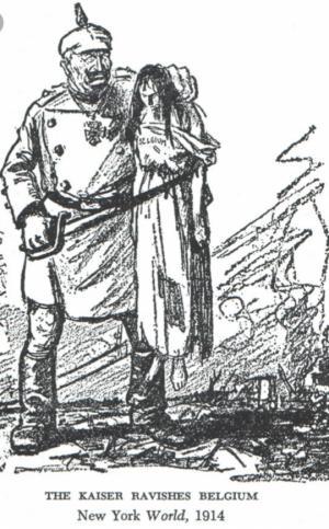 აქვეყნებდნენ ჩანახატებს, სადაც გერმანელი ჯარისკაცები ხიშტებით ხოცავდნენ ქალებსა და ბავშვებს