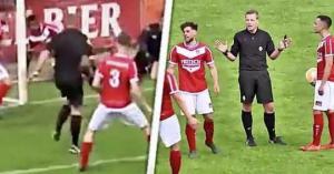უცნაური შემთხვევა ფეხბურთის ისტორიაში-მსაჯმა გოლი გაიტანა და ჩათვალა(ვიდეო)