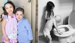 ფოტოები, რომლებმაც ინტერნეტი დაიპყრო! როგორ ზრუნავს 5 წლის გოგონა ლეიკემიით დაავადებულ ძმაზე