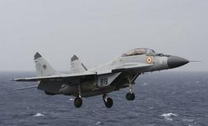 """ინდოეთში ჩამოვარდა მრავალფუნქციური, მეოთხე თაობის გამანადგურებელი"""" """"МиГ-29К, რომელიც სასწავლო ფრენას ანხორციელებდა"""