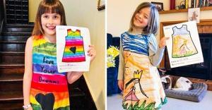 კომპანიამ ბავშვების ნახატები კაბებად გადააქცია (ფოტოები)