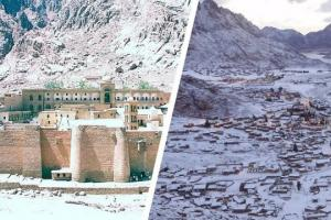 სენსაციური ვიდეო: ეგვიპტეში თოვლმა წმინდა ეკატერინეს მონასტერი დაფარა