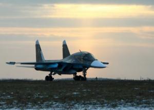 """რუსული მრავალფუნქციური  Су-34-ის მიერ რკინაბეტონის საწინააღმდეგო   ბომბის """"БетАБ-500 ШП""""-ის გამოყენების კადრები."""