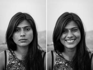 ჩვეულებრივი ადამიანების ფოტოსურათები მანამდე და მას შემდეგ რაც ფოტოგრაფი მათ გაღიმებას სთხოვს