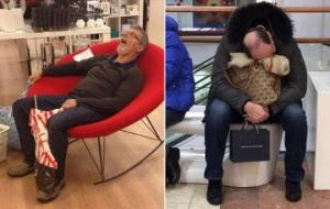 ფოტომტკიცებულებები იმისა, რომ მამაკაცების გაყოლა საყიდლებზე სახალისო სულაც არ არის