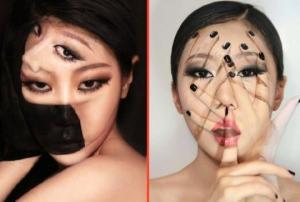 კორეელი მხატვრის გამაოგნებელი ილუზიები მაკიაჟის სახით- მათ უბრალოდ თვალს ვერ მოსწყვეტთ