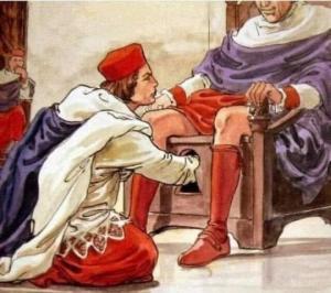 ფოტოზე ხედავთ რიტუალს, რომლის დროსაც სასქესო ორგანოს უმოწმებენ მომავალ პაპს
