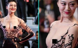 კანის ყველაზე თამამი სამოსი: ჩინელმა ქალმა ნახევრად შიშველი კომბინიზონით ყველა შოკში ჩააგდო