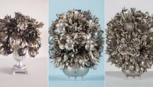 ფანტასტიური კომპოზიციები - ყვავილები ჩანგლებისგან და კოვზებისგან