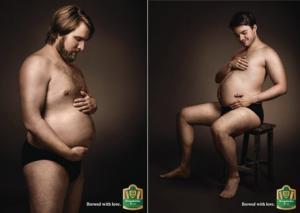 ფეხმძიმე მამაკაცები ორიგინალურ ლუდის რეკლამაში