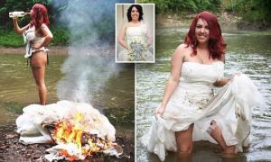 ამერიკელმა ქალმა გაყრა საპატარძლო კაბის დაწვით აღნიშნა