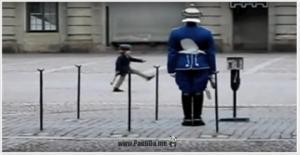 ბიჭუნა სამწყობრო ნაბიჯებით დადიოდა სამეფო დაცვის ჯარისკაცის წინ და ნახეთ როგორ მოექცა მას სამეფო დაცვის ჯარისკაცი