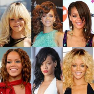 რიანას ვარცხნილობები და თმის ფერები 2009-იდან 2017წლამდე