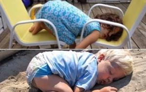 ყველაზე უცნაური და სასაცილო ადგილები,სადაც ბავშვებს ჩაეძინათ