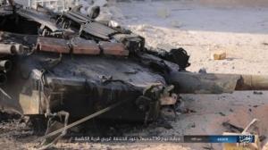"""სირიის სამთავრობო ძალების რუსული წარმოების ტანკს """"Т-90А""""–ს აფეთქებისას კოშკურა მოწყდა"""