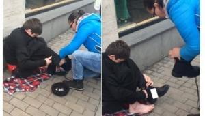 თბილისში არასრულწლოვანს, რომელიც ფეხშიშველი მათხოვრობდა ახალი ფეხსაცმელი ჩააცვეს