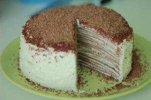 სწრაფად და მარტივად  მოსამზადებელი უგემრიელესი ბლინების შოკოლადის ტორტი