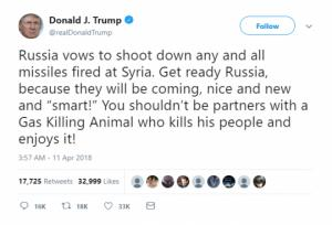 ტრამპი აფრთხილებს რუსეთს მზად იყოს სირიაში სარაკეტო თავდასხმისთვის