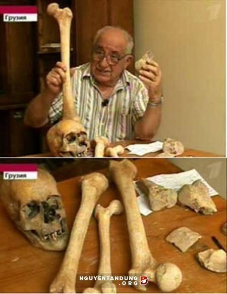 აბესალომ ვეკუა გიგანტური ადამიანის ძვლებთან ერთად