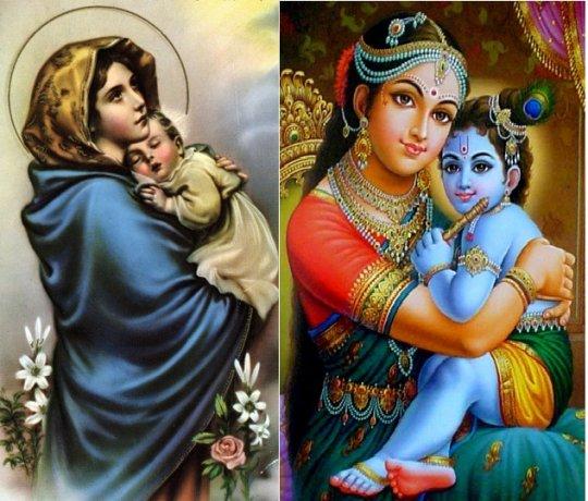 დევაკი და კრიშნა (მარჯვნივ) - იესო და მარიამი (მარცხნივ)