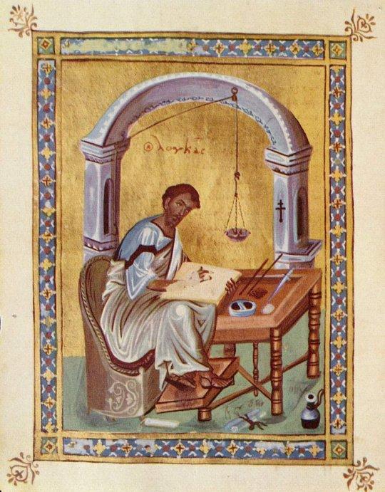 ლუკა მახარებელი სახარების წერის დროს - ბიზანტია. მე-10 საუკუნის ნამუშევარი