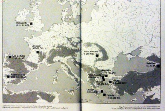ევროპაში უძველესი ოქროს საბადოების განლაგება (და თარიღები).