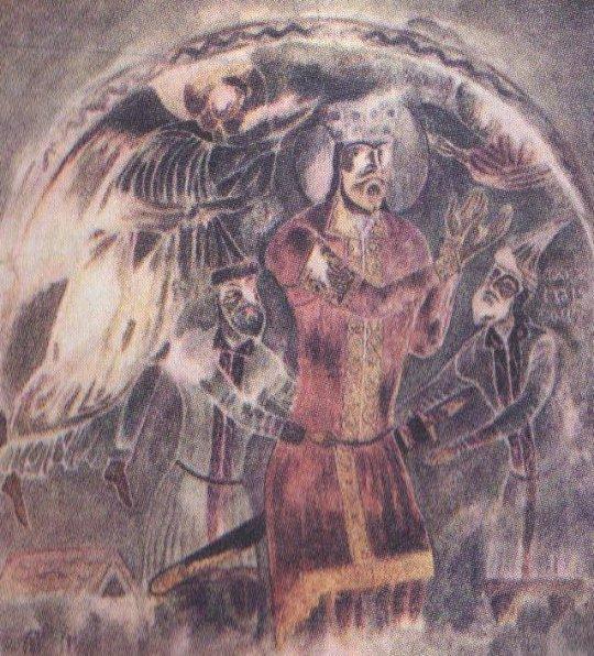 დემეტრე I-ის მეფედ კურთხევის სცენა. მაცხვარიშის ფრესკა