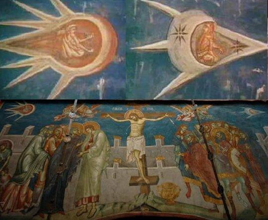 ამოუცნობი მფრინავი ობიექტები ქრისტეს ჯვარცმის ფრესკაზე კოსოვოში