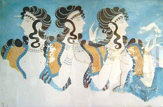 კნოსოსის სასახლის ფრესკა. ძვ.წ. 1500 წ.
