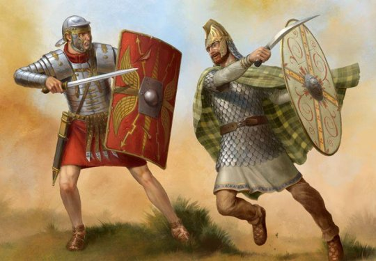 რომაელი მეომარი იბერიელი მეომრის წინააღმდეგ