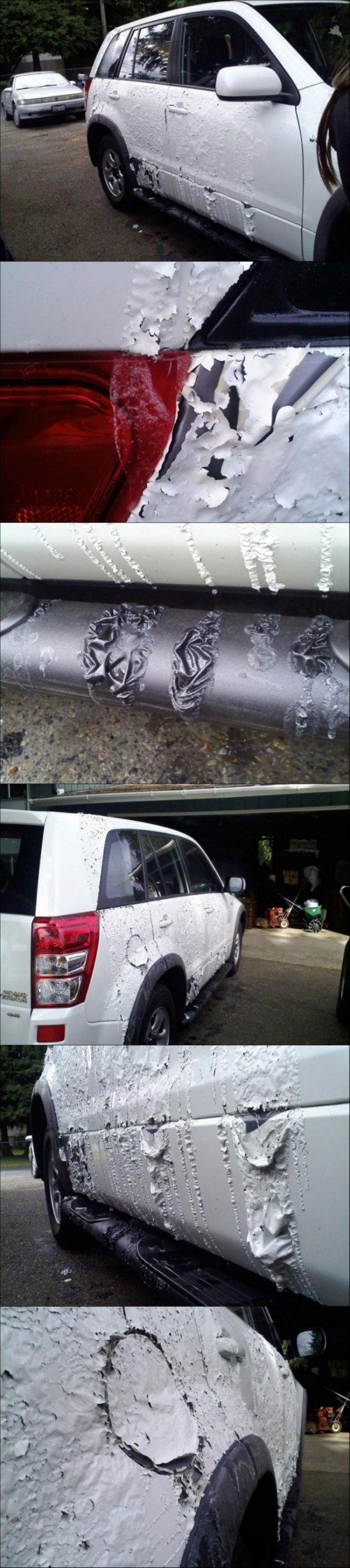 """Suzuki Grand Vitara""–ს პატრონის მუდმივი აბეზარი საქციელის გამო მეზობლებმა მანქანას მჟავა გადაასხეს."
