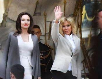 ანჯელინა პარიზში ბრიჯიტ მაკრონს შეხვდა - მსახიობი და პირველი ლედი არაჩვეულებრივად გამოიყურებოდნენ