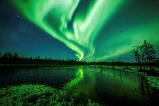 ჩრდილოეთის ციალი როვანიემის ცაზე (ლაპლანდია, ფინეთი)