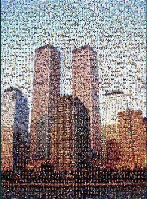 ტყუპების გამოსახულება, აგებული 2001 წლის 11 სექტემბერს დაღუპულთა ფოტოებით