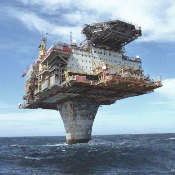 საზღვაო პლატფორმა ჩრდილოეთის ზღვაში, რომელიც მხოლოდ  ერთ ბეტონის  ბოძს ეყრდნობა