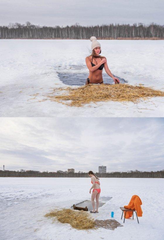 """""""ყინვაგამძლე"""" რუსი გოგოები ნათლისღბის დღეს ბიკინებით ჩადიან ყინულოვან წყალში"""