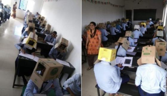 ინდოეთში გამოცდაზე გადაწერის აღკვეთის მიზნით სტუდენტებს თავებზე მუყაოს ყუთები ჩამოაცვეს
