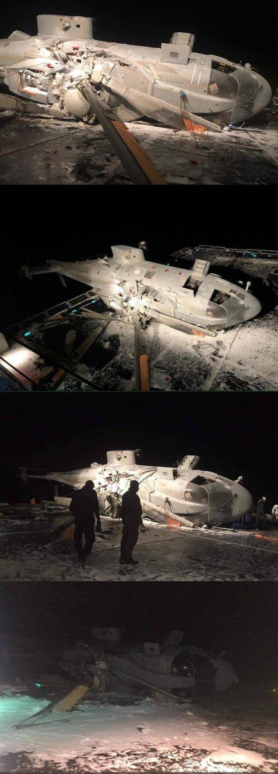 იტალიურ ნაღმოსანზე ვერტმფრენის ავარიული დაჯდომის შედეგი