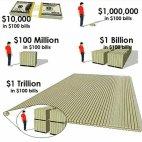 ტრილიონი დოლარი ას დოლარიანი კუპიურებით ასე გამოიყურება