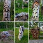 ხეში ნაკვეთი ხელოვნება მუსიკოსთა პარკში