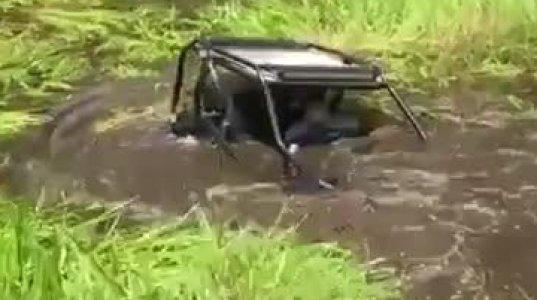 მანქანამ საკმაოდ ღრმა წყალში გასვლა სცადა