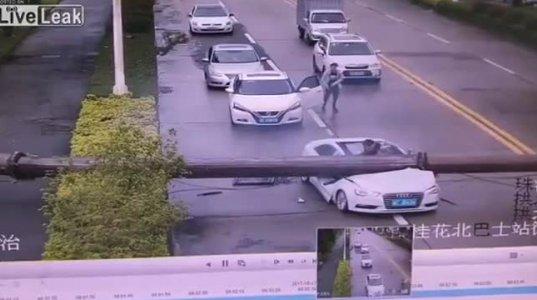 ავტომობილს უზარმაზარი ბოძი დაეცა,სახურავის ლუქი გამოსადეგი ყოფილა