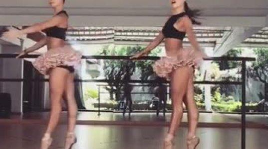 ტყუპი ბალერინების ლამაზად შესრულებული ცეკვა