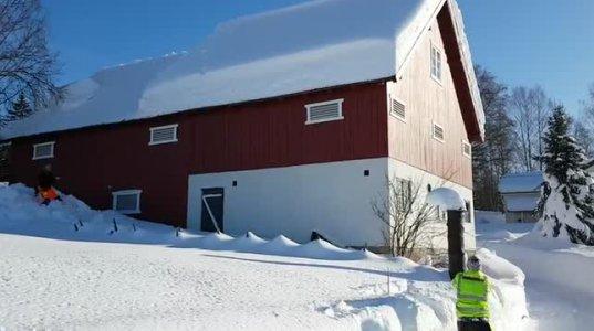 ეს საინტერესოა-როგორ ასუფთავებენ სახლის სახურავებს თოვლისგან ნორვეგიაში