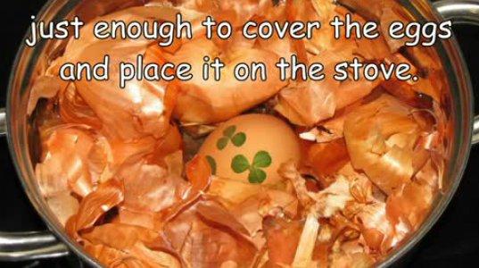 როგორ შევღებოთ სააღდგომო კვერცხი ხახვის ფოთლებით