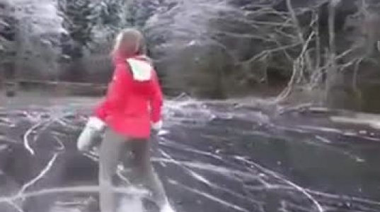Frozen lake skating in Pemberton, Canada looks amazing